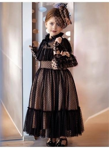 Riccotarz Kız Çocuk Noble Beaute Şapkalı Abiye Siyah